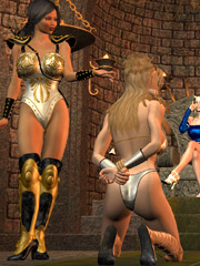 The main wife in the harem torturing slave girl badly fucking them with various bdsm implements and pissing on them in cages