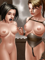 Slave girl double-penetrated in the dark basement!