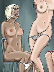 Two tied slave girls satisfy retarded guy in the basement!